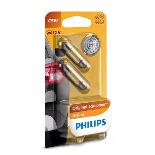 Лампа автомобильная накаливания PHILIPS 12844B2, C5W, 12В, 5Вт, 2шт