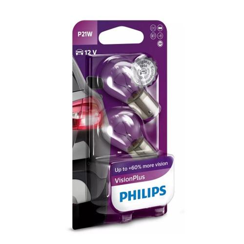 Лампа автомобильная накаливания PHILIPS 12498VPB2, P21W, 12В, 21Вт, 2шт