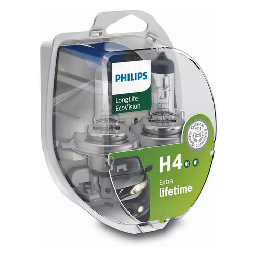 Лампа автомобильная галогенная Philips 12342LLECOS2, H4, 12В, 60Вт, 2шт