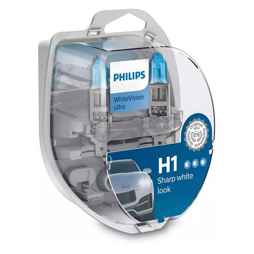 Лампа автомобильная галогенная PHILIPS 12258WVUSM, H1, 12В, 55Вт, 2шт