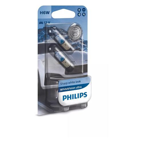 Лампа автомобильная галогенная PHILIPS 12036WVUB2, H6W, 12В, 6Вт, 2шт