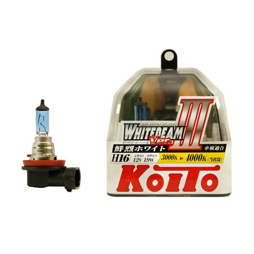 Лампа автомобильная галогенная KOITO P0749W, H16, 12В, 19Вт, 2шт