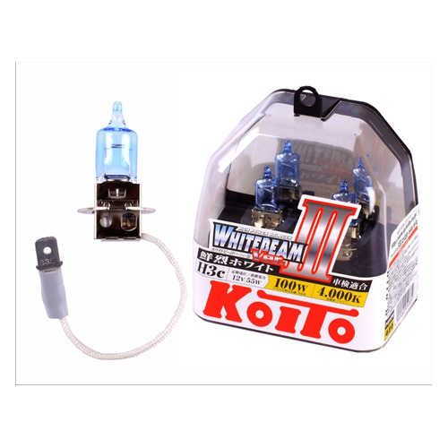 Лампа автомобильная галогенная KOITO P0752W, H3, 12В, 100Вт, 2шт