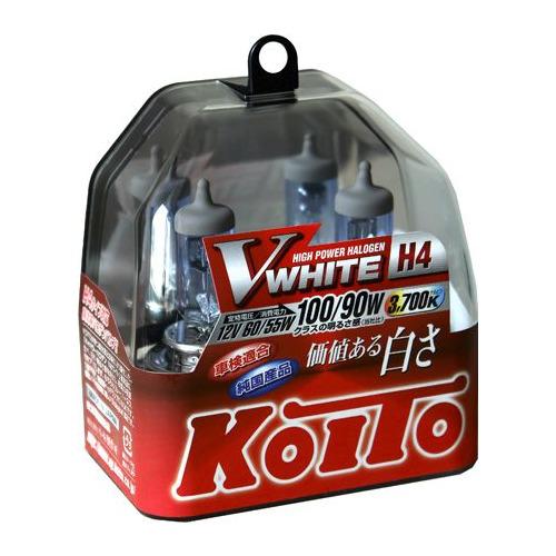 Лампа автомобильная галогенная KOITO P0746W, H4, 12В, 100Вт, 2шт