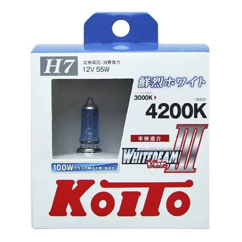 Лампа автомобильная галогенная KOITO P0755W, H7, 12В, 100Вт, 2шт автомобильная лампа h7 55w white vision 2шт w5w 2шт philips