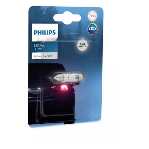 Лампа автомобильная светодиодная PHILIPS 11854U30CWB1, Fest T10,5x38, 12В, 0.6Вт, 6000К, 1шт