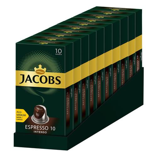 Кофе капсульный JACOBS MONARCH Espresso 10 Intenso, капсулы, совместимые с кофемашинами NESPRESSO®, крепость 10, 100 шт [8052286] кофе капсульный cellini delizioso caffe lungo капсулы совместимые с кофемашинами nespresso® крепость 8 10 шт