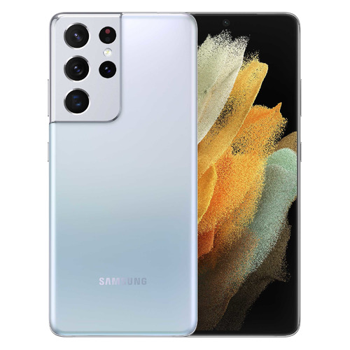Смартфон SAMSUNG Galaxy S21 Ultra 12/256Gb, SM-G998, серебряный фантом смартфон samsung galaxy s21 ultra sm g998 256gb 12gb черный фантом