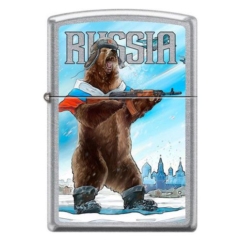 Зажигалка Zippo Русский медведь 207 Russian Bear латунь/сталь серебристый