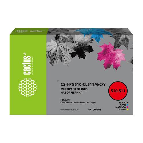Чернила Cactus CS-I-PG510-CL511M/C/Y, 100мл, голубой/пурпурный/желтый/черный