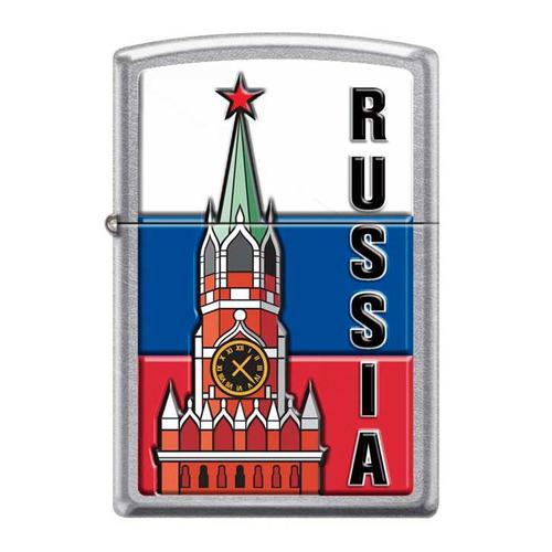 Зажигалка Zippo Московский кремль 207 Kremlin Flag Russia латунь/сталь серебристый/красный/синий/бел
