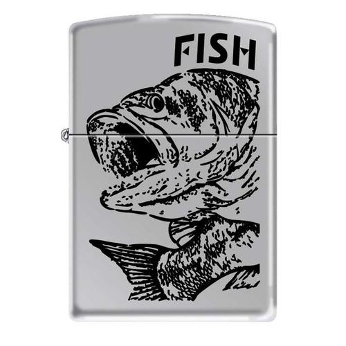 Зажигалка Zippo Черный окунь 250 Fish-Big Mouth латунь/сталь серебристый