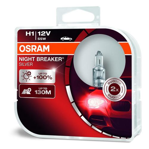 Лампа автомобильная галогенная OSRAM 64150NBS-HCB, H1, 12В, 55Вт, 2шт