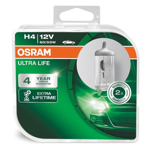 Лампа автомобильная галогенная OSRAM 64193ULT-HCB, H4, 12В, 2шт