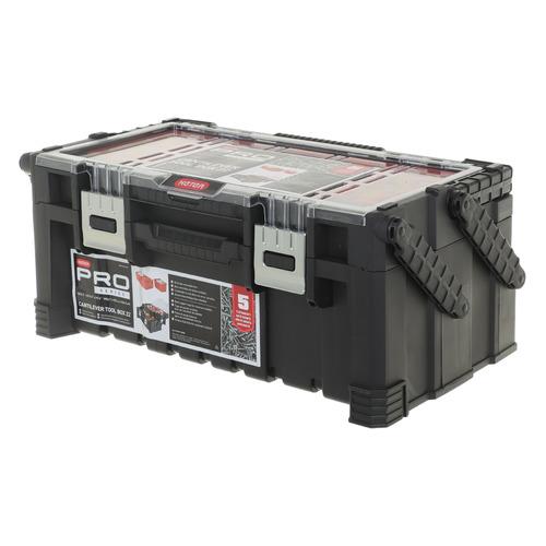 Фото - Ящик для инстр. Keter 22 Canti Tool Box 26л 2отд. черный (17187311) ящик keter 2 drawers tool chest 17199303 56 2x28 9x26 2 см 22 красный
