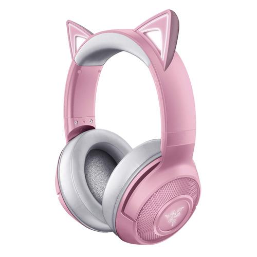 Гарнитура игровая RAZER Kraken BT - Kitty Edition - Quartz, для компьютера, мониторные, bluetooth, розовый / серый [rz04-03520100-r3m1]