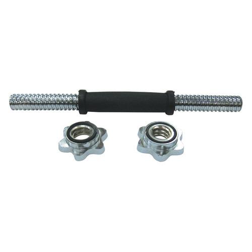 Гриф гантельный SPORT ELITE R0233, прямой, замки в комплекте, серебристый [28259196]