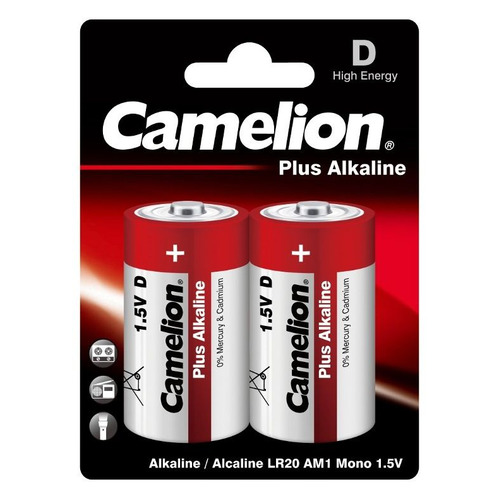 D Батарейка CAMELION Plus Alkaline LR20-BP2, 2 шт. 20000мAч батарейка energizer alkaline power lr20 d алкалиновая 2 шт