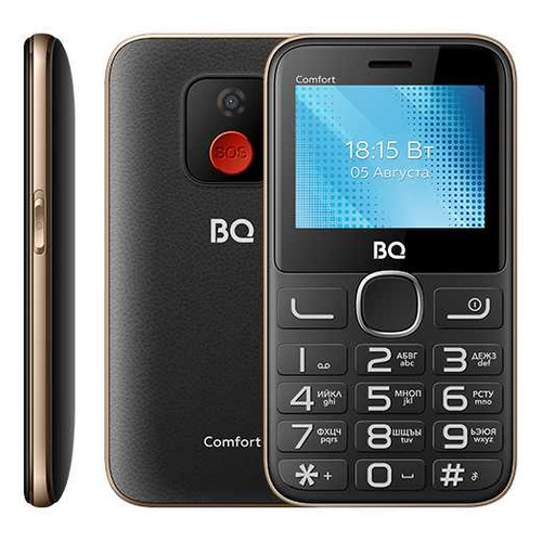 телефон BQ Comfort 2301, черный/золотистый сотовый телефон bq 2301 comfort red black