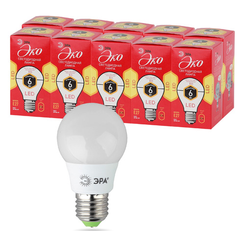 Упаковка ламп LED ЭРА E27, шар, 6Вт, 2700К, белый теплый, ECO LED A55-6W-827-E27, 10 шт. [б0028008]