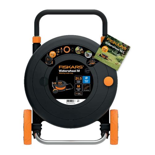 Тележка для шланга Fiskars 1023643 черный/оранжевый шланг в компл. 20м