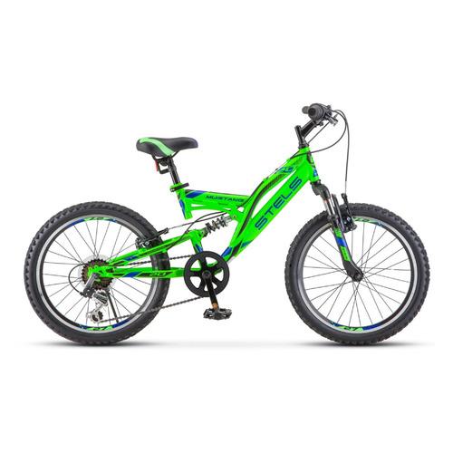 Велосипед Stels Mustang V V010 (2021) горный (подростк.) рам.:13 кол.:20 зеленый (LU088354) велосипед stels 2612 v