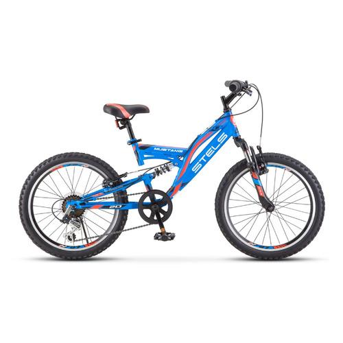 Велосипед Stels Mustang V V010 (2021) горный (подростк.) рам.:13 кол.:20 синий (LU088353) велосипед stels 2612 v