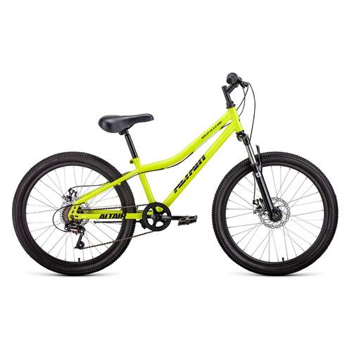"""Велосипед Altair MTB HT 24 2.0 disc (2021) горный (подростк.) рам.:12"""" кол.:24"""" ярко-зеленый/черный"""