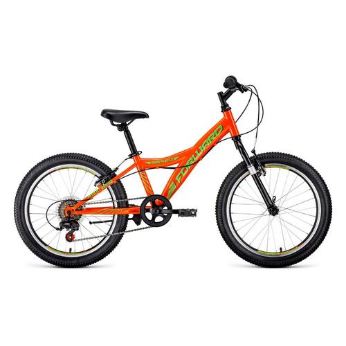 """Велосипед Forward Dakota 20 1.0 (2021) горный (детск.) рам.:10.5"""" кол.:20"""" оранжевый/ярко-зеленый 12"""