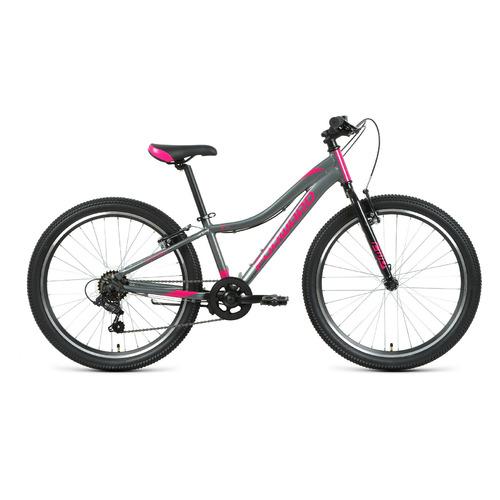 """Велосипед Forward Jade 24 1.0 (2021) горный (подростк.) рам.:12"""" кол.:24"""" серый/розовый 14кг (RBKW1J"""