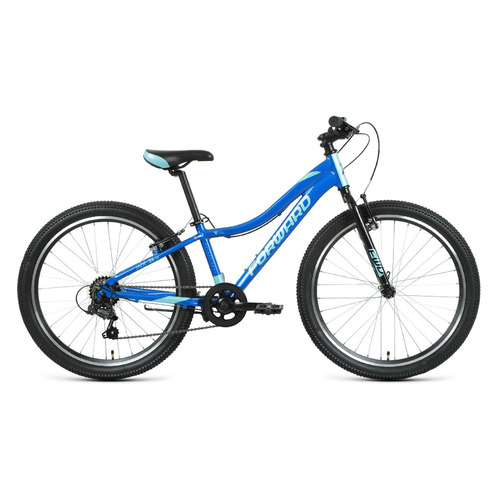 """Велосипед Forward Jade 24 1.0 (2021) горный (подростк.) рам.:12"""" кол.:24"""" синий/бирюзовый 14кг (RBKW"""