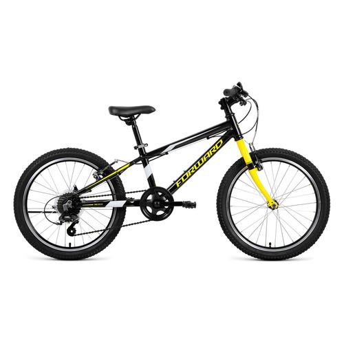 """Велосипед Forward Rise 20 2.0 (2021) горный (детск.) рам.:10.5"""" кол.:20"""" черный/желтый 12кг (RBKW1J3"""
