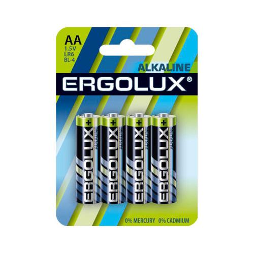 AA Батарейка ERGOLUX Alkaline LR6-BL4, 4 шт. 2800мAч