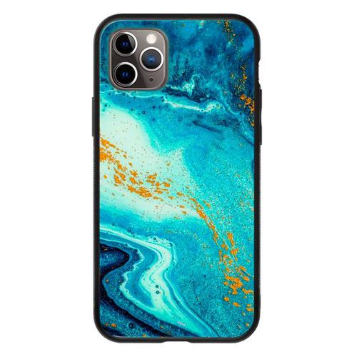 Фото - Чехол (клип-кейс) Deppa Glass Case, для Apple iPhone 11 Pro, голубой агат [87253] чехол клип кейс deppa eco case для apple iphone 11 голубой [87282]