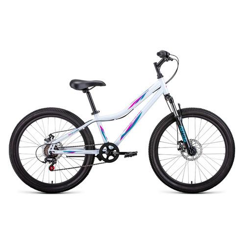 """Велосипед Forward Iris 24 2.0 disc (2021) горный (подростк.) рам.:12"""" кол.:24"""" белый/розовый 15кг (R"""