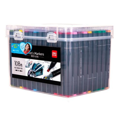 Набор маркеров для скетчинга DELI 70800-108, 108 цвет., двойной пишущий наконечник