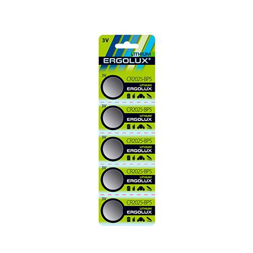 Фото - CR2025 Батарейка ERGOLUX Lithium CR2025-BP5, 5 шт. 150мAч батарейка enegizer lithium cr2025 блистер 1 шт