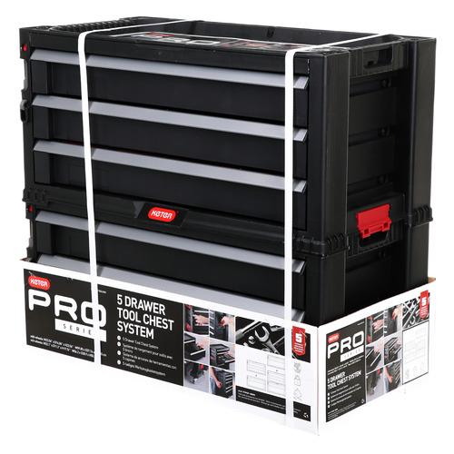 Фото - Ящик для инстр. Keter 5 Drawers Plas Slide STD EuroPRO 5отд. 16карм. черный/красный (237007) ящик keter 2 drawers tool chest 17199303 56 2x28 9x26 2 см 22 красный