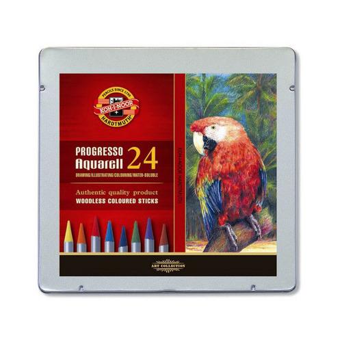 Фото - Упаковка карандашей цветных акварельных KOH-I-NOOR Progresso Aquarell 8784 8784024001PL, круглые, 24 цв., коробка металлическая упаковка карандашей цветных акварельных deli 6522 6522 липа 36 цв коробка металлическая