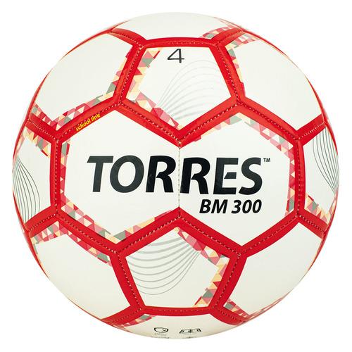 Мяч футб. Torres BM 300 р.4 для газона 370гр белый/красный (F320744)