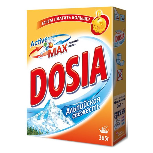 Стиральный порошок DOSIA Альпийская свежесть, ручная стирка, 0.365кг 22 шт./кор. недорого