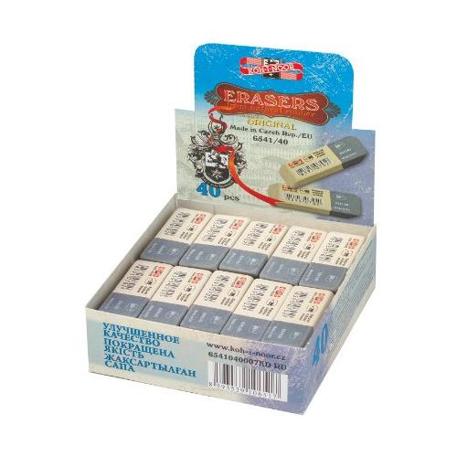 Упаковка ластиков KOH-I-NOOR 6541, 57х20х8мм , каучук, прямоугольный, серый [6541040007kdru] 40 шт./кор. стирательная резинка ластик koh i noor bluestar 6521 40