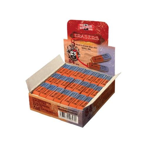 Упаковка ластиков KOH-I-NOOR 6521, 41х14х8мм , каучук, прямоугольный, двусторонний [6521080006kdru] 84 шт./кор. стирательная резинка ластик koh i noor bluestar 6521 40