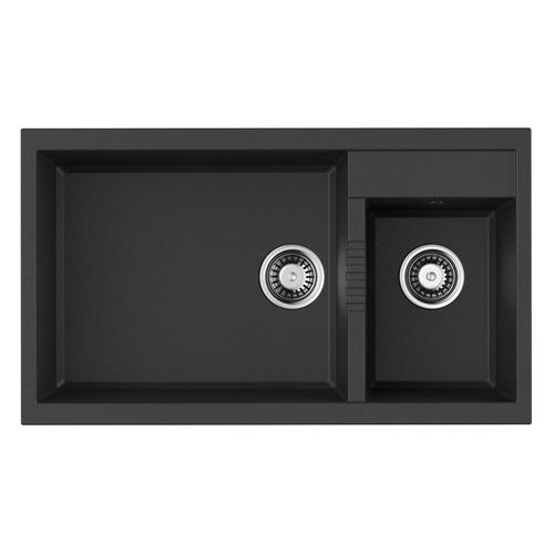 Кухонная мойка OMOIKIRI Tedori 86-2-LB-BL, искусственный гранит, 86см х 50см, черный [4993932]
