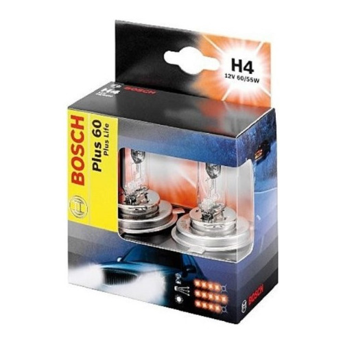 Лампа автомобильная галогенная BOSCH 1987301070, H4, 12В, 2шт