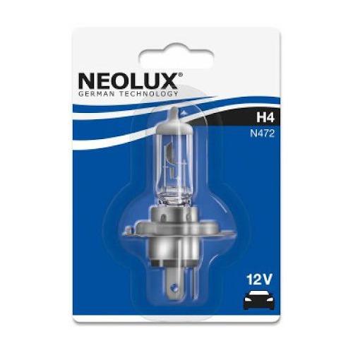 Лампа автомобильная галогенная NEOLUX N472, H4, 12В, 3200К, 1шт