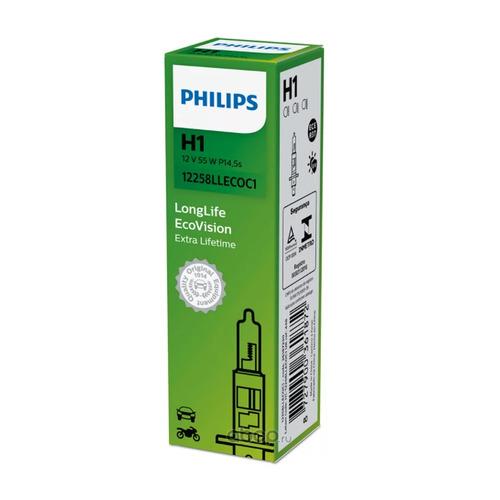 Лампа автомобильная галогенная Philips 12258LLECOC1, H1, 12В, 55Вт, 3100К, 1шт