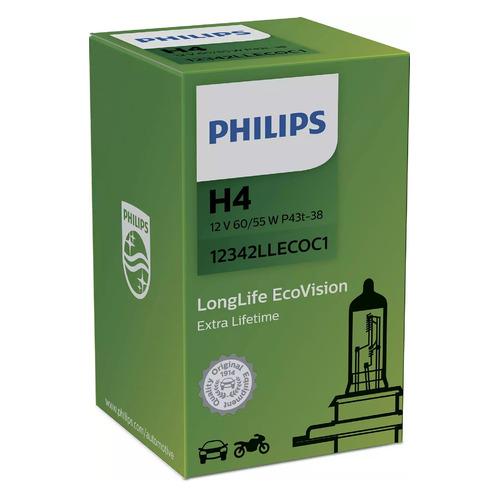 Лампа автомобильная галогенная Philips 12342LLECOC1, H4, 12В, 55Вт, 3100К, 1шт