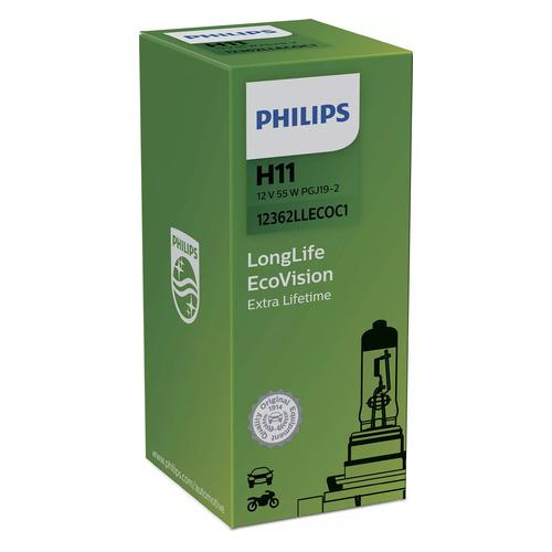 Лампа автомобильная галогенная Philips 12362LLECOC1, H11, 12В, 55Вт, 1шт