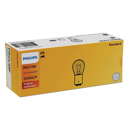 Лампа автомобильная галогенная Philips 12495CP, PR21/5W, 12В, 5Вт, 1шт